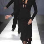 French fashion designer and former top model Ines de la Fressange presents a creation by French designer Jean-Paul Gaultier as part of his Spring-Summer Haute Couture 2009 fashion collection in Paris.