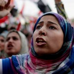 women protest in tahrir square egypt